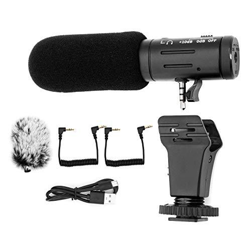 ShawFly micrófono de cámara Deportiva micrófono de Metal teléfono móvil micrófono en Vivo Adecuado para cámaras Canon/Nikon/Sony/Ouda/gopro