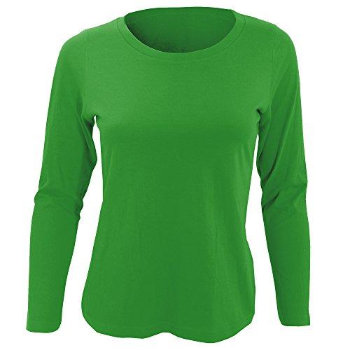 SOLS - Camiseta de Manga Larga Modelo Majestic para Mujer (Pequeña (S)) (Verde césped)