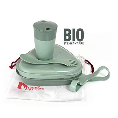 Light My Fire MESSKIT BIO - Servizio da tavola riutilizzabile, posate, ciotola e tazza, 5 pezzi - Made in Svezia, Verde sabbia.