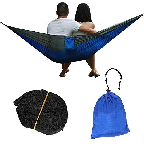 Enkele hangmat met draagriem, draagbare enkele hangmat 200 kg Laadvermogen Gemakkelijk te wassen en sneldrogend Hangbed Gemakkelijk te wassen en sneldrogend(Grijs + donkerblauw)