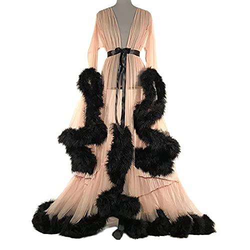 QSLS Plumas Transparente Bata para Mujer, Larga De Seda Kimono Bata Baño...