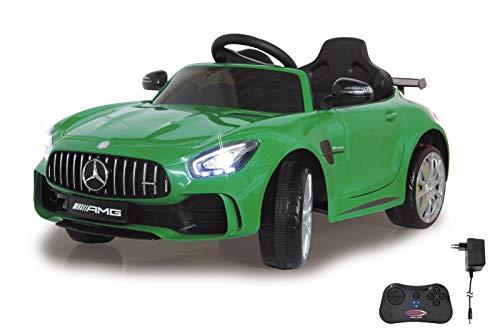 Jamara 460361 Ride-on Mercedes-Benz AMG GT R 2,4G 12V – 2 snelheden, 2 aandrijfmotoren, krachtige accu, ultra-grip rubberen ring op de wiel, AUX-en USB-aansluiting, LED-koplamp, groen