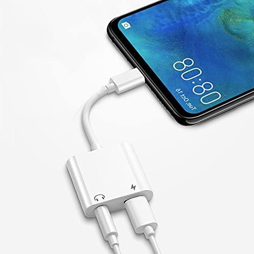 Adaptador de auriculares 2 en 1 Lightning a jack de 3,5 mm AUX Audio estéreo & Cable de carga Dual Port Convertidor compatible con iPhone 12 / SE / 11/11 Pro / X / XS Max / XR / 8/7