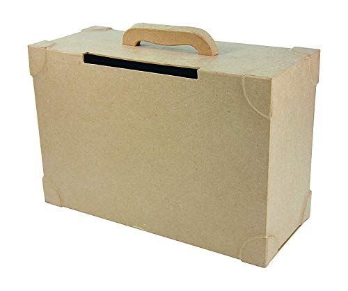 Decopatch Caja de Papel maché Maleta para Boda, marrón