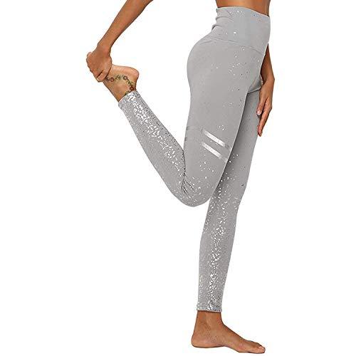 DEEWISH - Mallas para mujer, pantalones de yoga, leggings deportivos, pantalones para correr, deporte, fitness, entrenamiento, leggins, pantalones elásticos para yoga, gris plateado, medium