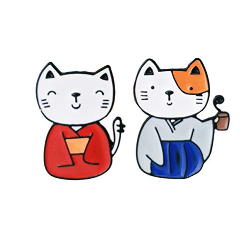 Happyyami 2 Piezas Broches para Gatos Alfileres de Broches de Animales de Dibujos Animados Vestido de Novia Broche Bufanda Ropa Pantalones Bolsa Joyería Pin (Patrón de Dos Gatos)