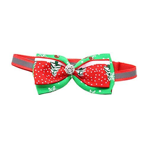 Kungfu Mall, collare con papillon regolabile, di Natale, per animali domestici, gatti, cani, con decorazione di albero di Natale e neve, decorazione per festa di matrimonio