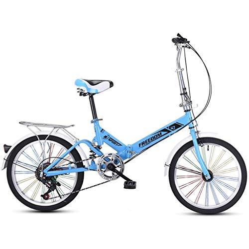 RUZNBAO Bicicleta Plegable 20 Pulgadas de aleación Ligera de Bicicletas Plegables Ciudad de cercanías Variable Bicicleta Velocidad, con la Rueda de Colores, 13kg - 20AF06B (Color : Blue)