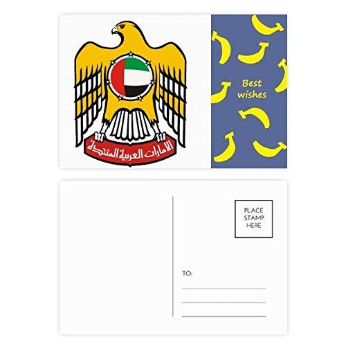 DIYthinker Vereinigte Arabische Emirate National Emblem Banana Postkartenset Dank Side Kartenversand 20pcs 5.7 Zoll x 3.8 Zoll Mehrfarbig