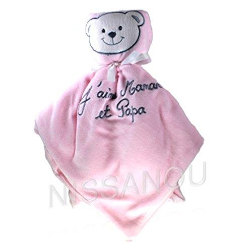 DOUDOU bebe J'aime Maman et Papa ROSE idee cadeau naissance, nounours peluche NISSANOU DOU-Rs