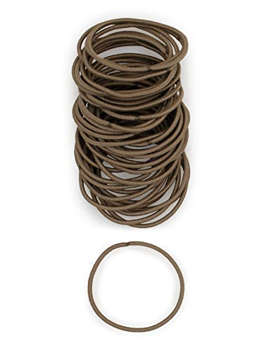 Heliums Light Ash Brown Thin 2mm Hair Elastics, Color Match Hair Ties for Fine Hair, 1.75 Inch Standard Size - 40 Count