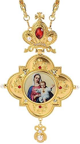 Zaaqio Goldfarbe Griechisch-Orthodoxes Brustkreuz ICO Anhänger Schmuck Halskette Religiöses Handwerk mit Box