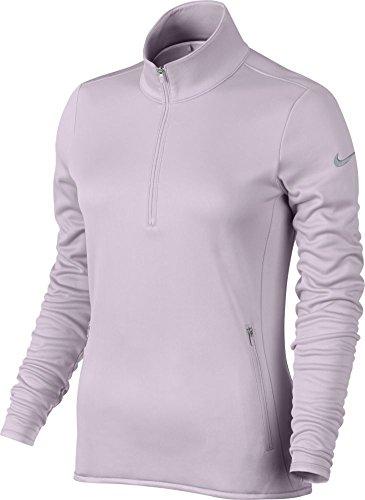 Nike Thermal 1/2 Zip Camiseta de Manga Larga, Mujer, Morado (Bleached Lilac/Bleached Lilac/Wolf...