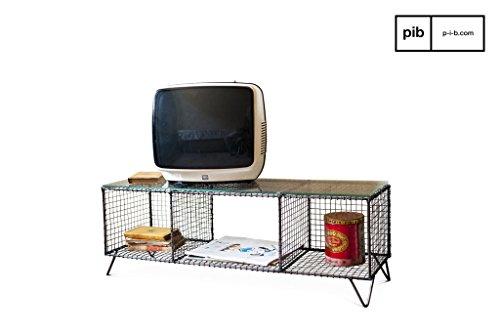 Ontario industriële stijl tv-meubel - Afwijkend product, Matte afwerking   Een origineel meubelstuk van metaal met een vintage twist - Parelmoer-muisgrijs (L100 x H35 x P30 cm)