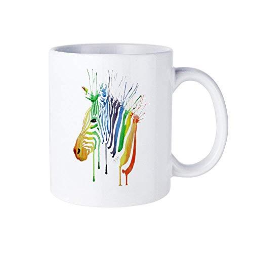 Kinder-T-Shirt, Kinder-T-Shirt, Aquarell-Zebra-Shirt, Regenbogen-Zebra-T-Shirt, helles Zebra-Oberteil, Kindergeburtstags-Outfit Strumpffüller Kaffeetasse Tasse, Zebra-Regenbogen-Aquarell-Keramikbecher
