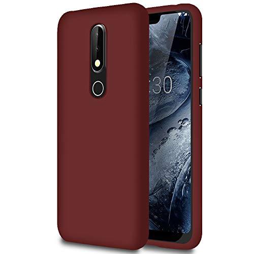 Hülle für Nokia 6.1 (2018) in Rotwein | Unifarben Tasche | Dunn und Leicht Hülle