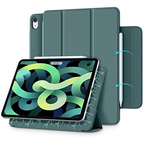 Vobafe Magnetische Hülle Kompatibel mit iPad Air 4.Generation 10.9 Zoll 2020/iPad Pro 11 2018, Trifold Hülle Magnet Schutzhülle Unterstützt 2. Gen iPencil Aufladen, Auto Schlafen/Wachen-Kiefern Grün