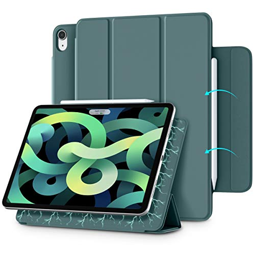 Vobafe Magnetic Case Compatible with iPad Air 4th Generation 2020 10.9 Inch/iPad Pro 11 2018, Strong Magnetic Cover Trifold Smart Case, Support 2nd Gen Pencil Charging, Auto Wake/Sleep-Pine Green