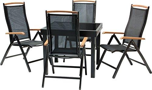 IB-Style - DIPLOMAT-Quadro Gartengarnitur | 6 Kombinationen - mit Klappstühle | Alu SCHWARZ + TEAKHOLZ + Textilen SCHWARZ | 6 Kombinationen | Ausziehtisch mit Sicherheitsglas 90 - 180 cm | Klappstühle Gartenmöbel Hochlehner Tisch | 5-teilig