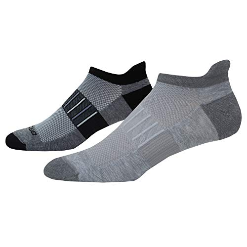 Brooks Ghost Midweight Tab 2-Pack Running Socks Oxford/Asphalt & Asphalt/Black Size Large