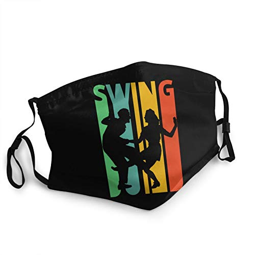 Swing Dancing Silhouette Face Mask Washable with Nose Wire Adjustable Bandanas for Men Women Black