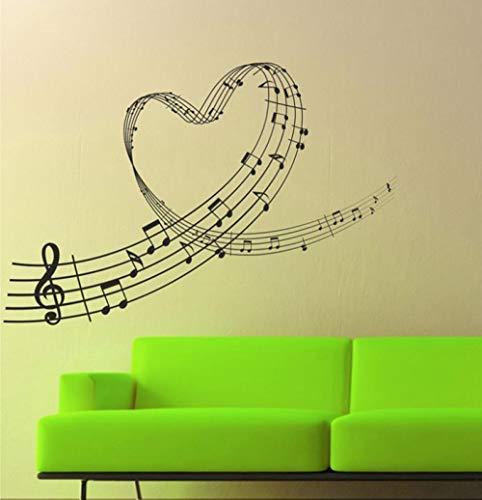 Wandtattoo Aufkleber Tapete Musikpraxis Liebe Herz Musik Notizen Wandkunst 83X56cm