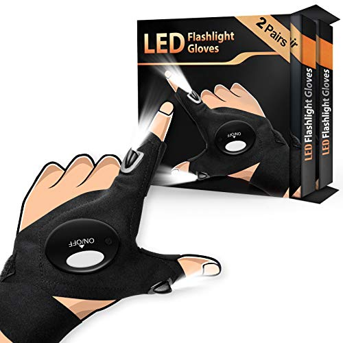 2Pack LED Flashlight Gloves, Gifts for Men Women Dad Husband, LED Light Gloves for Fishing Camping Repairing, Cool Gadgets for Mechanic Guys, Valentines Gifts Fathers Day Gifts for Dad