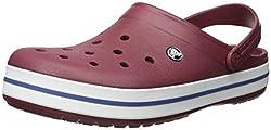 Crocs Damen Crocband U Pantoletten Clog, Rot (Garnet/Weiß), Gr.-38/39 EU