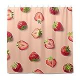 RELEESSS Duschvorhang Obst Erdbeere Wasserdicht Badezimmer Gardinen mit Haken 182 x 182 cm