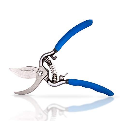 SPEEDWOX Professional Jardin Sécateurs bypass Sécateur Branche Coupe-ongles outils de jardinage Coupé à la main Lame en acier carbone haute sécurité Verrou en métal 6-Inch bleu