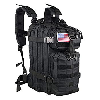 Small 30L Rucksack Pack for Outdoors Hiking Camping Trekking Bug Out Bag Travel Military & Tactical Army Molle Assault Backpack With US Flag Patch