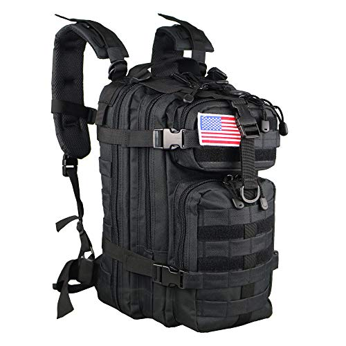 Small 30L Rucksack Pack for Outdoors, Hiking, Camping, Trekking, Bug Out Bag, Travel, Military & Tactical Army Molle Assault Backpack With US Flag Patch
