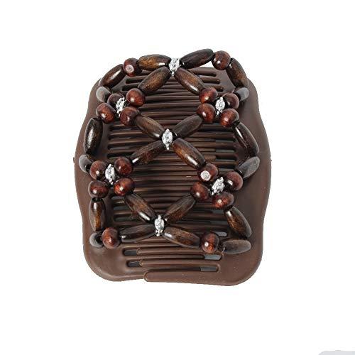 JUSTFOX - Trend African Hairclip Haarklammer Haarkamm Blüten Holzdesign Butterfly (Braun)