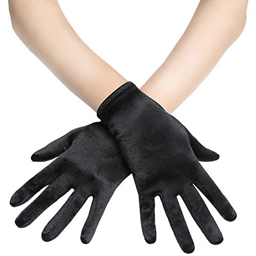 "BABEYOND Short Opera Satin Gloves Wedding Evening Gloves Special Occasion Gloves Wrist Length Tea Party Gloves 8.7"" Stretchy Gloves (Black)"