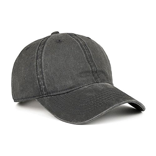 VANCIC Low Profile Washed Brushed Twill Cotton Adjustable Baseball Cap Dad Hat for Men Women (Dark Grey)