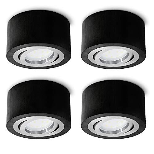 SSC-LUXon - Juego de 4 focos LED redondos orientables (5 W, 230 V, 90 mm de diámetro), color negro