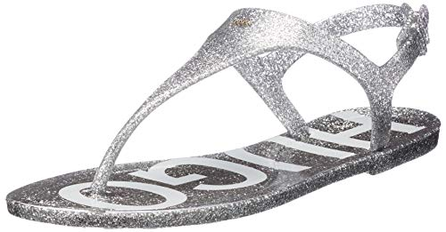 HUGO Emma Flat Sandal-GL, Sandalia Mujer, Silver40, 36 EU