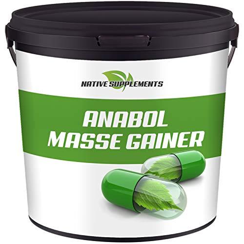 Native Supplements Anabol Masse Gainer 3,0 KG - XXL-Bulk - Whey Proteinpulver mit starken Aminosäuren - Sonderangebot Eiweißpulver (Vanille)
