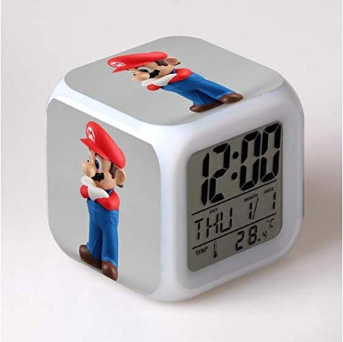 XINHANG Reloj Personajes Relojes despertadores 3D Super Mario Bros, Juego 3D Relojes despertadores Super Mario Regalo para niños Relojes despertadores multifunción Que cambian de Color