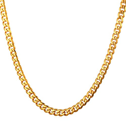 U7 Solid Gold Curb Link Necklace 18K Gold Plated Stainless Steel Minimalist Rapper Jewelry 3mm Cuban Chain 22 Inch
