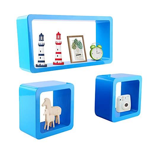 Greensen Wandregal Cube Holz CD Regal Würfel Regal Cube 3er Set Würfelregale Bücherregal Hochglanz Regalsysteme Retro Hängeregal Würfel Freischwebend Deko Würfel CD DVD Lounge Cuben, Blau