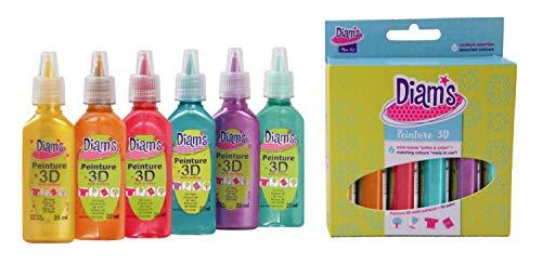 Diam's 3D Mini Lot de 6 Peintures Couleurs nacrées
