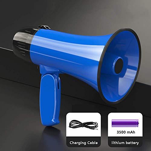 Zixin Tragbares Megaphon Lautsprecher - Kompakt und Batterie betrieben, Mikrofon, 2 Modi, PA Ton und klappbarem Griff for Cheerleading und die Polizei zu verwenden, Blau