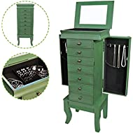 Flex HQ Wooden Jewelry Treasure Armorie Cabinet Chest Big Storage Box Organizer Drawer with...