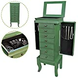Flex HQ Wooden Vintage Jewelry Treasure Armoire Cabinet Chest Big Storage Box Organizer Drawer 39' Tall with Mirror Green