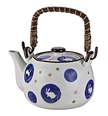 FMC Fuji Merchandise Corp Kagetsu Traditional Japanese Style Ceramic Dobin Teapot with Rattan Handle 25 fl oz Teapot with Stainless Steel Infuser Strainer for Loose Leaf Tea Moon Rabbit Design