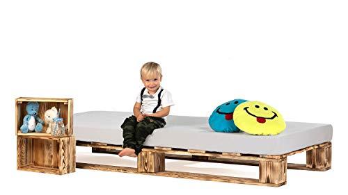 sunnypillow Palettenbett aus Holz Holzbett 100 x 200 cm Massivholzbett Bett aus Paletten Palettenmöbel Geflammt Vintage europalette
