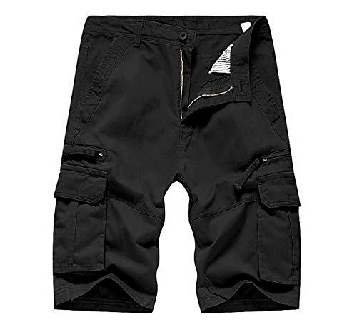 Men's Sexy Lichtgewicht Slim Straight vijfde van shorts Katoen Lengte Sport (Color : Black, Size : 36)