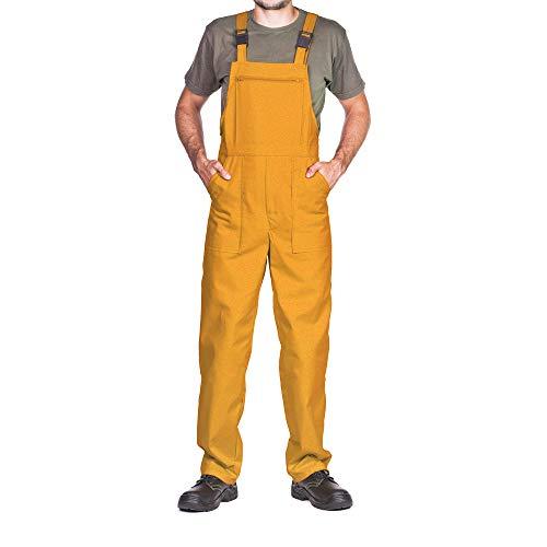 Pantalones con Peto de Trabajo para Hombre, Made in EU, Mono de Trabajo, Azur, Blanco, Rojo, Verde, Negro (S, Amarillo)