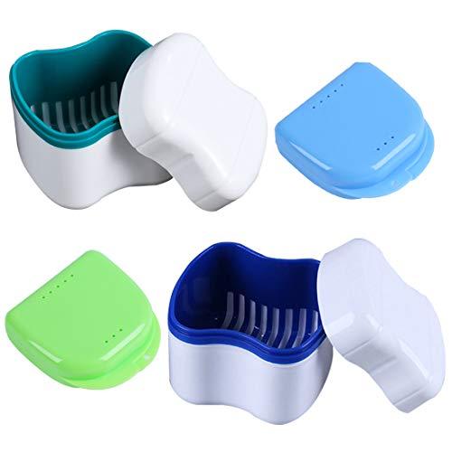 Caja de Dentadura, FANDE Caja para Dientes Ortodónticos, Caja de dentadura portátil, Caja del Baño de la Dentadura, con la Cesta de Enjuague (2 Estilos)